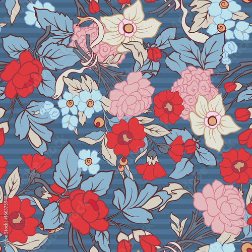 Cotton fabric Floral seamless pattern, background with vintage style flowers  in red and blue colors.  Stock line vector illustration.