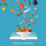 Book of recipes, cookbook, best recipes. Vegetarian, healthy eating concept. Vector concept illustration - 166380593