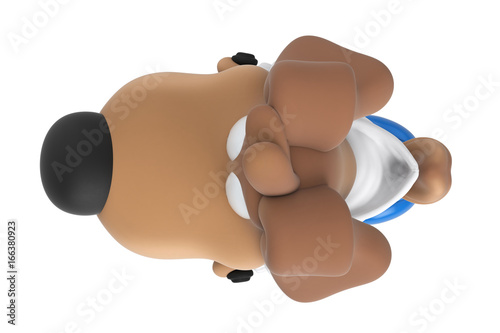 Cartoon dog character on blue scooter, top view. 3D rendering