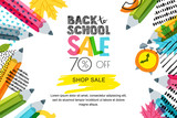 Vector horizontal back to school sale banner, poster background. Hand drawn sketch letters and doodle multicolor pencils on textured background. Layout for discount labels, flyers and shopping. - 166385396