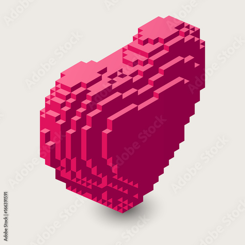 Vector isometric heart illustration. 3d pixel icon.Voxel heart shape in threedimentional pixel style.