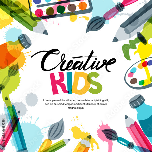 Kids art, education, creativity class concept. Vector banner, poster or frame background with hand drawn calligraphy lettering, pencil, brush, paints and watercolor splash. Doodle illustration. - 166397514