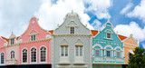 Oranjestad downtown panorama with typical Dutch colonial architecture. Oranjestad is the capital and largest city of Aruba - 166402736