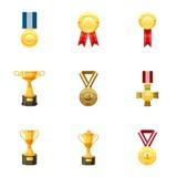 Sport awards icons set, cartoon style