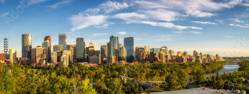 City skyline of Calgary with Bow River, Canada