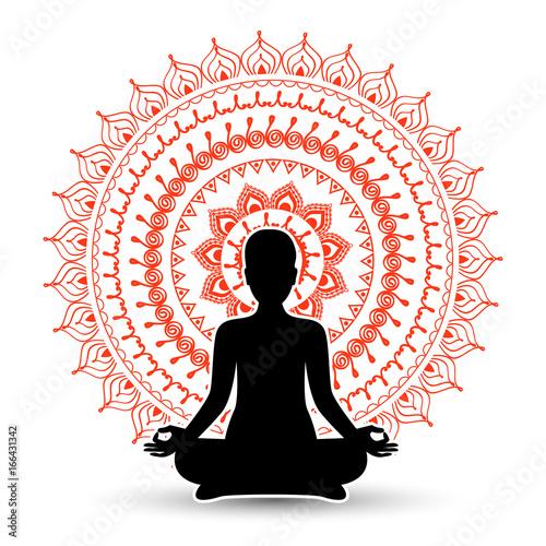 Obraz na płótnie Black silhouette of woman in meditation pose. Vector illustration.