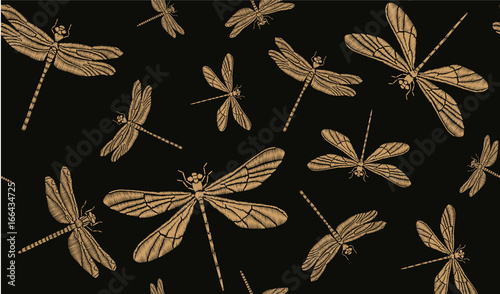Materiał do szycia Golden dragonflies. Vector seamless pattern. Embroidery for clothes, textiles, wallpapers, background design