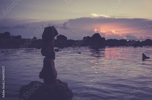 Tuinposter Aubergine Sunset on the rocky shore