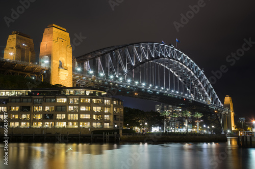SYDNEY AUSTRALIA 7 MARCH 2017 : landmark of Sydney with Sydney harbor bridge in twilight time and ferry and building city near the rocks area sydney australia