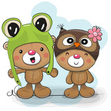 Two Cute Cartoon Bears In A Frog And Owl Hat Wall Sticker