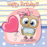 Cute Cartoon Owl girl with balloon - 166446700