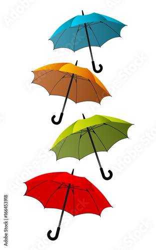 Vertical stacked colorful umbrellas over white background