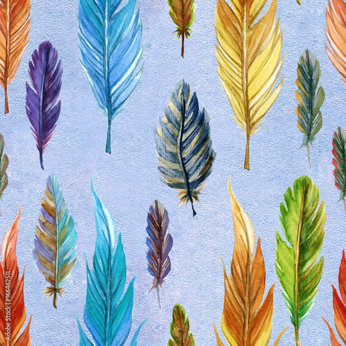 Hand painted Bright rainbow watercolor seamless pattern with feathers