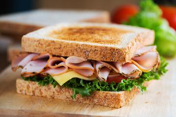 pepper ham sandwich with whole wheat bread for breakfast