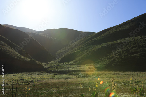 beautiful landscape grassland and mountain in sunrise