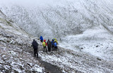 group of hikers under the snow