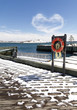 Snowy boardwalk in Halifax, Nova Scotia.