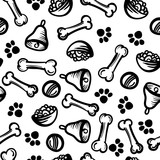 Seamless cute pattern with Dog food, cell, bones. Home dog. Perfect for textiles or paper design. - 166482721