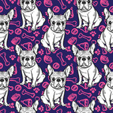 Seamless cute pattern with French bulldog. Home dog. Perfect for textiles or paper design. - 166482918