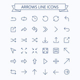Thin line vector arrows icon set. Editable stroke. 24x24 px. Pixel Perfect. - 166485345