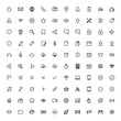 user interface symbols, thin line 100 icons set