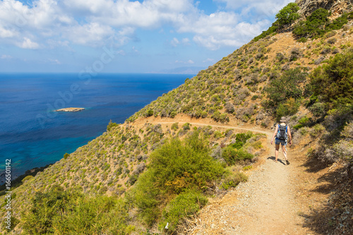 Walking in the mountains along peninsula of Akamos, Cyprus