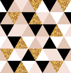 Geometry gold, black and white triangles texture. © kotoffei