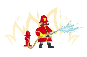 Fireman spraying a water hose - Vector Illustration. Objects grouped for easy editing.