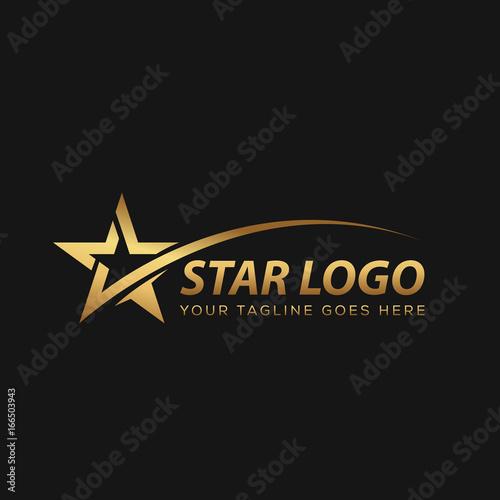 Złota gwiazda logo z czarnym tłem