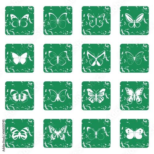 Foto op Canvas Vlinders in Grunge Butterfly set grunge