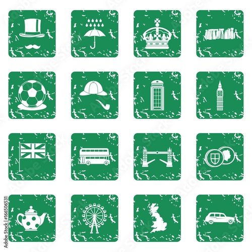 Foto op Plexiglas Op straat Great Britain icons set grunge