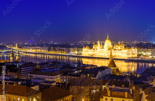 Beautiful night view of Budapest. The Parliament and the Danube promenade at night illumination, Budapest, Hungary