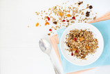 Healthy breakfast with granola. - 166513105