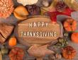 Happy Thanksgiving Plaque Bordered With Autumn Decor