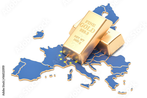 Foreign-exchange reserves of European Union concept, 3D rendering