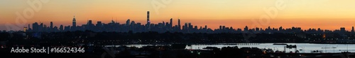 New York city skyline panorama under dusk sunlight