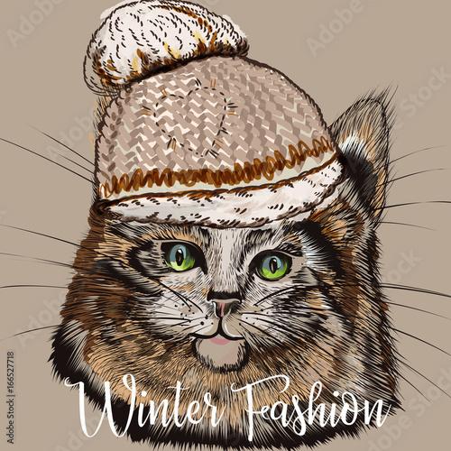 fasonuje-ilustracje-z-portretem-sliczny-kot-w-zima-kapeluszu