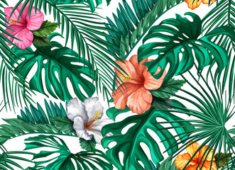 Vector tropical leaves hibiscus seamless pattern