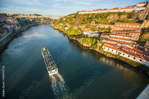Douro river view from Dom Luis I bridge, Porto, Portugal.