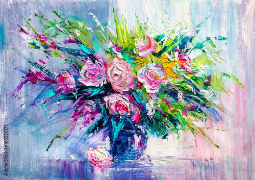 Oil painting flowers Poster