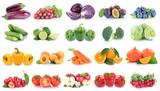 Obst und Gemüse Früchte Apfel Tomaten Paprika Orangen Beeren Salat Farben Collage Freisteller freigestellt isoliert