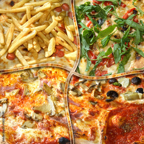Italy,Naples; a mix of different kinds of Pizza.