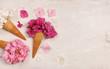Quadro ice cream cones with hydrangea flowers