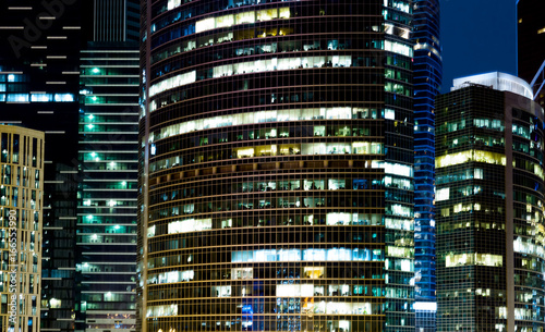 Modern office buildings at night