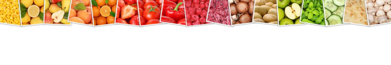 Obst und Gemüse Früchte Apfel Tomaten Farben Orangen Zitrone Banner Textfreiraum