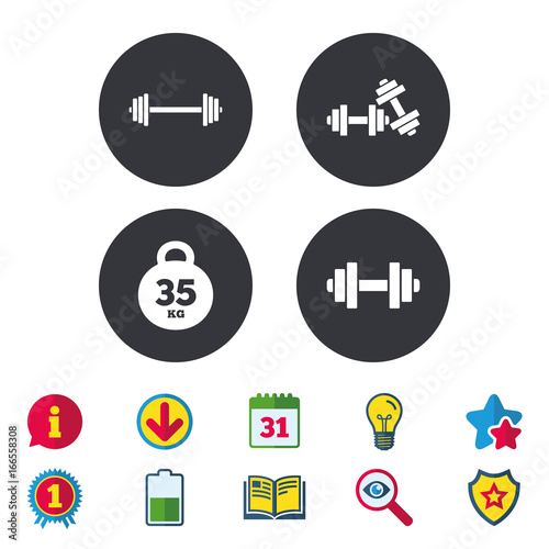 Dumbbells icons. Fitness sport symbols.