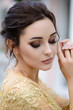 Beautiful fashion bride, sweet and sensual. Wedding make up and hair