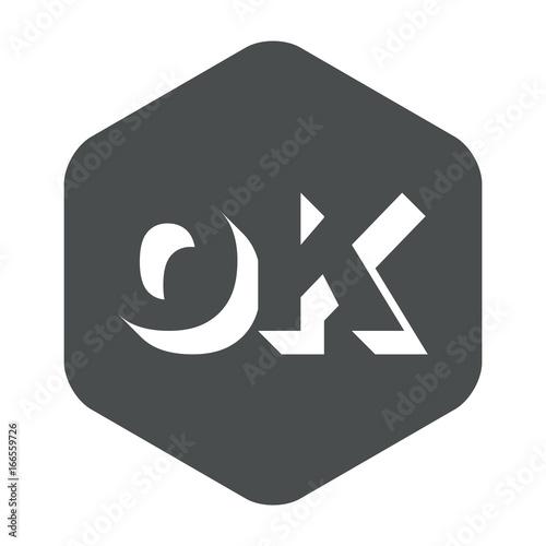 Icono plano OK espacio negativo en hexagono gris