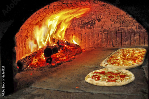Pizzas in wood oven