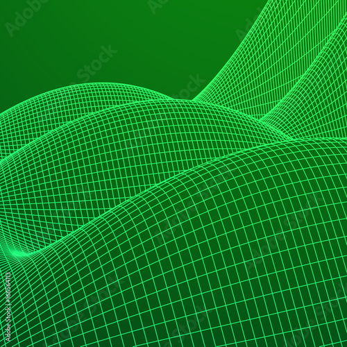 Wireframe landscape vector background. Cyberspace grid technology illustration